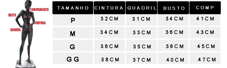 tabela de medidas oficial cropped regata gola alta