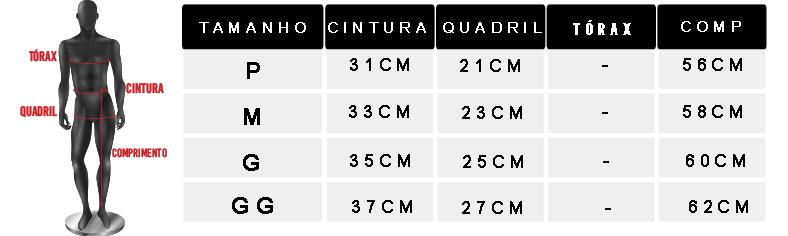 tabela de medidas oficial bermuda masculina