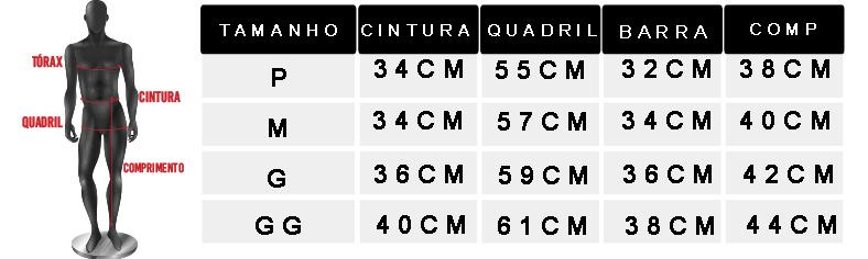 tabela de medidas oficial bermuda tactel